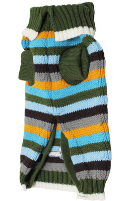 Dog Sweater Knitted Pullover Warm Winter Clothing Colorful Stripes Small Breeds