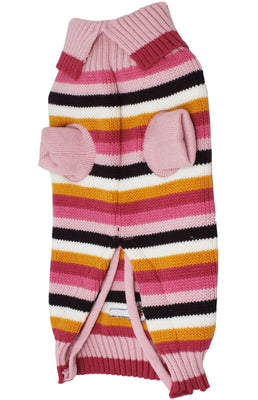 Dog Sweater Knitted Pullover Warm Winter Clothing Colorful Pink Stripes Medium 16