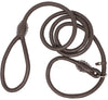 Genuine Rolled Leather Slip Dog Leash and Adjustable Choke Collar British Style Lead 6ft Long Brown