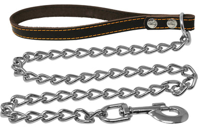 4' Long Metal Chain Leash Brown Stitched Genuine Leather Handle 5 Sizes
