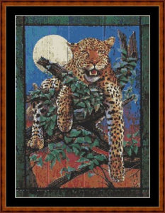 Cross Stitch Pattern *PDF File* ( Pattern ) - LEOPARD WOODEN WALL HANGING *PDF File*
