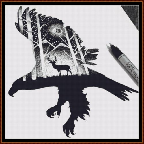 EAGLE SILHOUETTE Cross Stitch Pattern *PDF File*