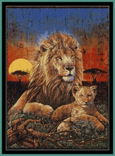 Tapestry Chart ( Pattern ) - LION & CUB WOODEN WALL HANGING *PDF File*