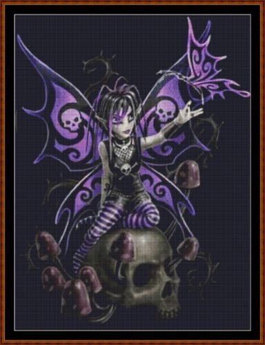 Cross Stitch Pattern *PDF File* ( Pattern ) - SKULL FAIRY *PDF File