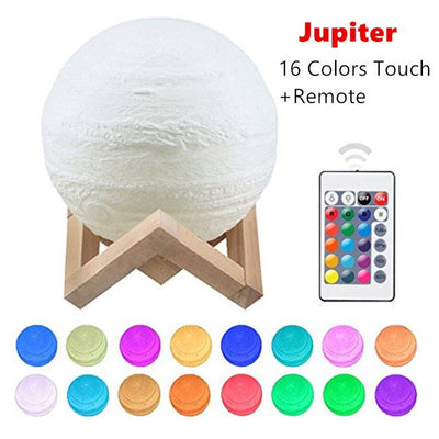 3D Jupiter LED Lamp - Touch USB Rechargable LED Lamp Wat Crate Jupiter 16 colors 8CM