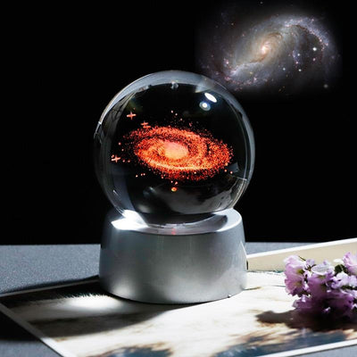 3D Laser Engraved Galaxy and Solar System Crystal Ball with LED Light Crystal Globe Wat Crate 6 cm of ball Base and galaxy ball