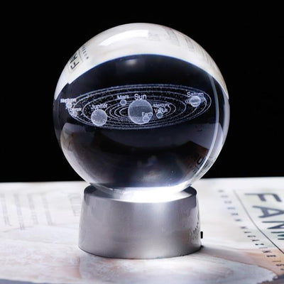 3D Laser Engraved Galaxy and Solar System Crystal Ball with LED Light Crystal Globe Wat Crate 6 cm of ball Base and planet ball