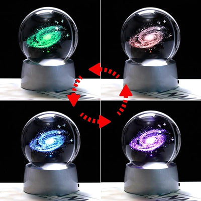 3D Laser Engraved Galaxy and Solar System Crystal Ball with LED Light Crystal Globe Wat Crate