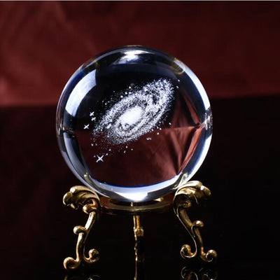 "3D Milky Way Galaxy Crystal Globe Crystal Globe Wat Crate 6 cm/2.36"" ball-gold-base"
