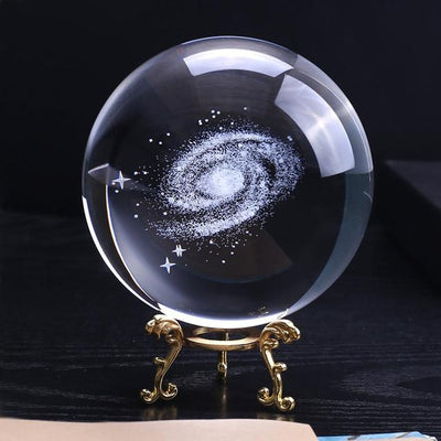 3D Milky Way Galaxy K9 Crystal Globe - 100mm Diameter Crystal Globe Wat Crate 10cm With gold base