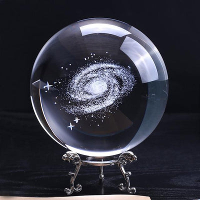 3D Milky Way Galaxy K9 Crystal Globe - 100mm Diameter Crystal Globe Wat Crate 10cm With silver base