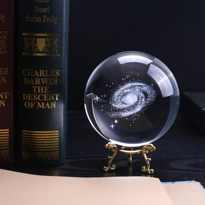 3D Milky Way Galaxy K9 Crystal Globe - 100mm Diameter Crystal Globe Wat Crate