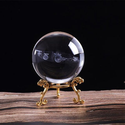3D Solar System Crystal Ball 60/80mm Crystal Globe Wat Crate 60mm with gold base