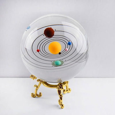 80mm Colorful Solaris Crystal Globe Crystal Globe Wat Crate With gold base