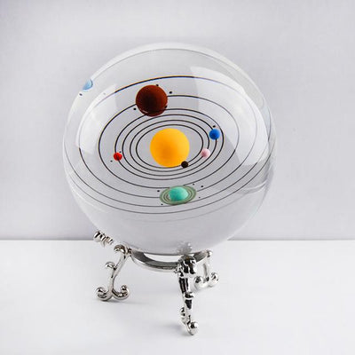 80mm Colorful Solaris Crystal Globe Crystal Globe Wat Crate With Silver base
