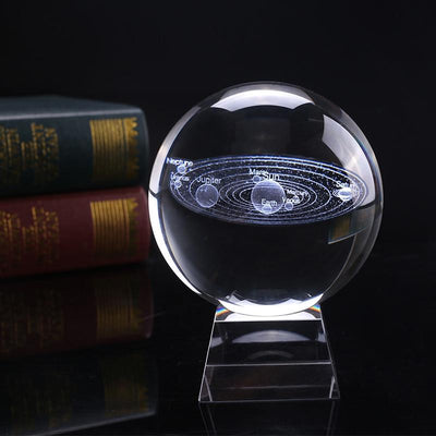 "80mm/3.15"" Solaris™ Globe Laser Engraved Glass Item Wat Crate 8 cm With Crystal Base"
