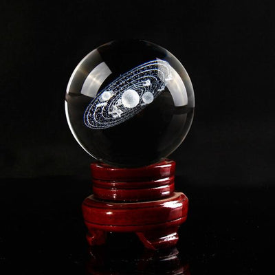 "80mm/3.15"" Solaris™ Globe Laser Engraved Glass Item Wat Crate 8 cm With Wooden Base"