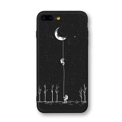 Astronaut & Moon iPhone Cases Phone Case Wat Crate Moon landing for iphone 7 plus Case & Strap
