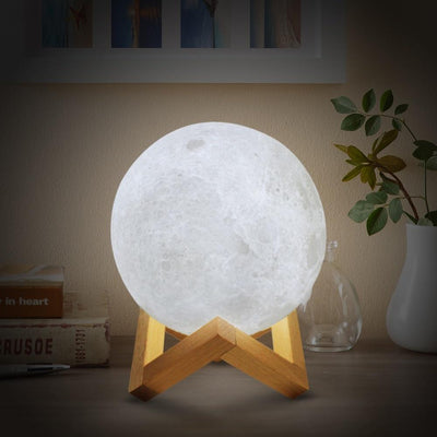 Moon Lamp - 2 Colors LED - With Wooden Base LED Lamp Wat Crate