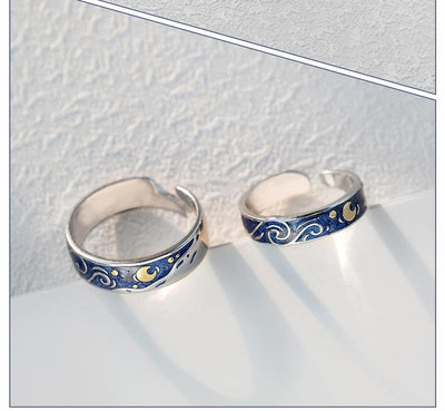 Starry Night Van Gogh Couples Rings Rings Wat Crate