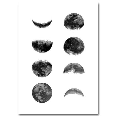 The Eclipse of Moon - Watercolor Minimalist Art Canvas Poster Canvas Wat Crate 13x18cm No Frame Picture 2