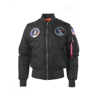 Thick Apollo Bomber Jacket - 100th Space Shuttle Mission Jacket Wat Crate Black Thick XXS