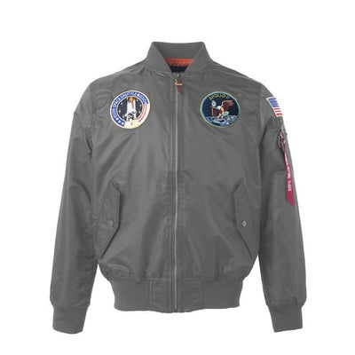 Thin Apollo Bomber Jacket - 100th Space Shuttle Mission Jacket Wat Crate Gray XXS