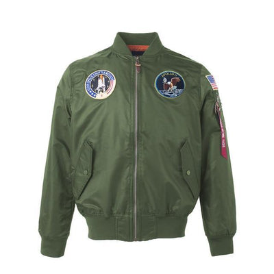 Thin Apollo Bomber Jacket - 100th Space Shuttle Mission Jacket Wat Crate Green XXS