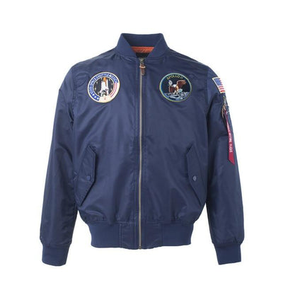 Thin Apollo Bomber Jacket - 100th Space Shuttle Mission Jacket Wat Crate Navy XXS