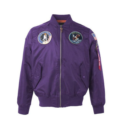 Thin Apollo Bomber Jacket - 100th Space Shuttle Mission Jacket Wat Crate Purple XXS