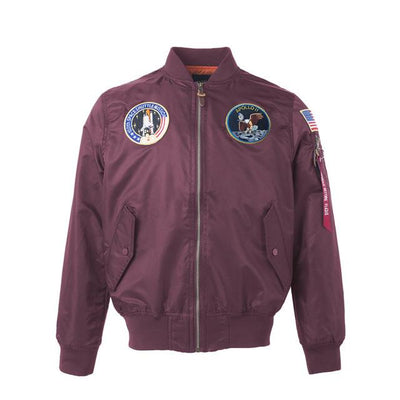 Thin Apollo Bomber Jacket - 100th Space Shuttle Mission Jacket Wat Crate Red XXS