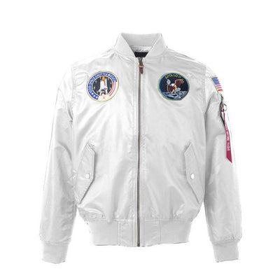 Thin Apollo Bomber Jacket - 100th Space Shuttle Mission Jacket Wat Crate White XXS