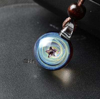 Universe Star & Heart Glass Necklace Necklace Wat Crate 1