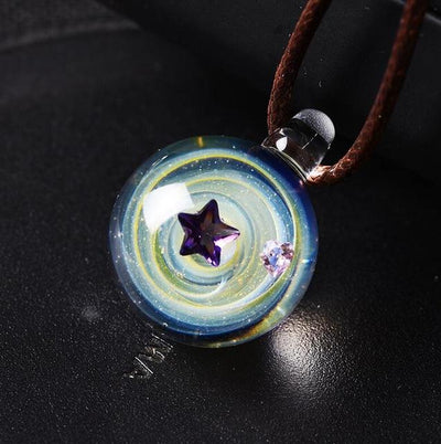 Universe Star & Heart Glass Necklace Necklace Wat Crate 2