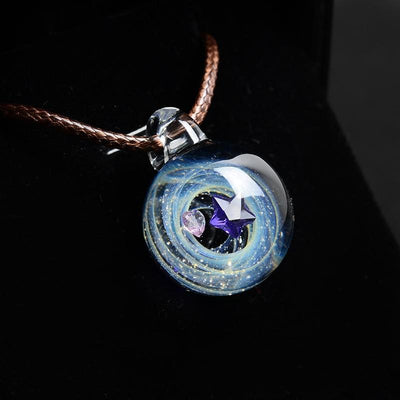 Universe Star & Heart Glass Necklace Necklace Wat Crate