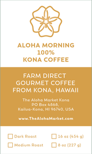 100% Kona Coffee - Aloha Morning Gourmet Coffee - Great Souvenir from Hawaii