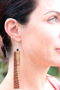 Hand carved Hawaiian Koa Wood Earrings - incredibly light weight! - Great Souvenir from Hawaii