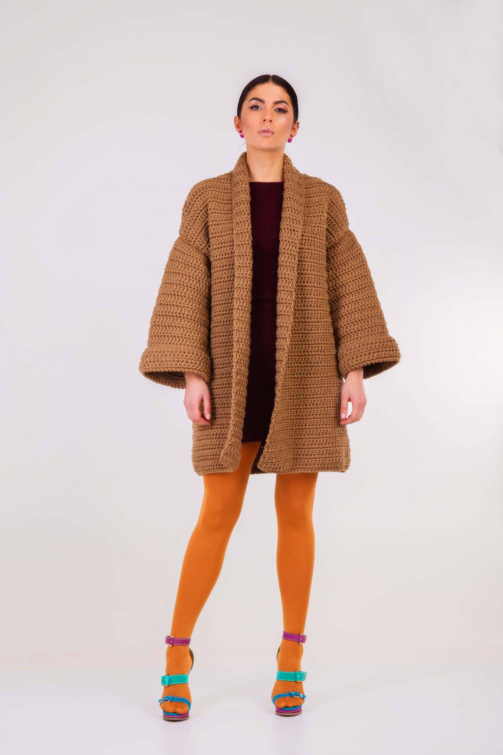 Chunky crochet cardigan  Dark beige cardigan Slouchy spring coat knitted coat - Lena Felice