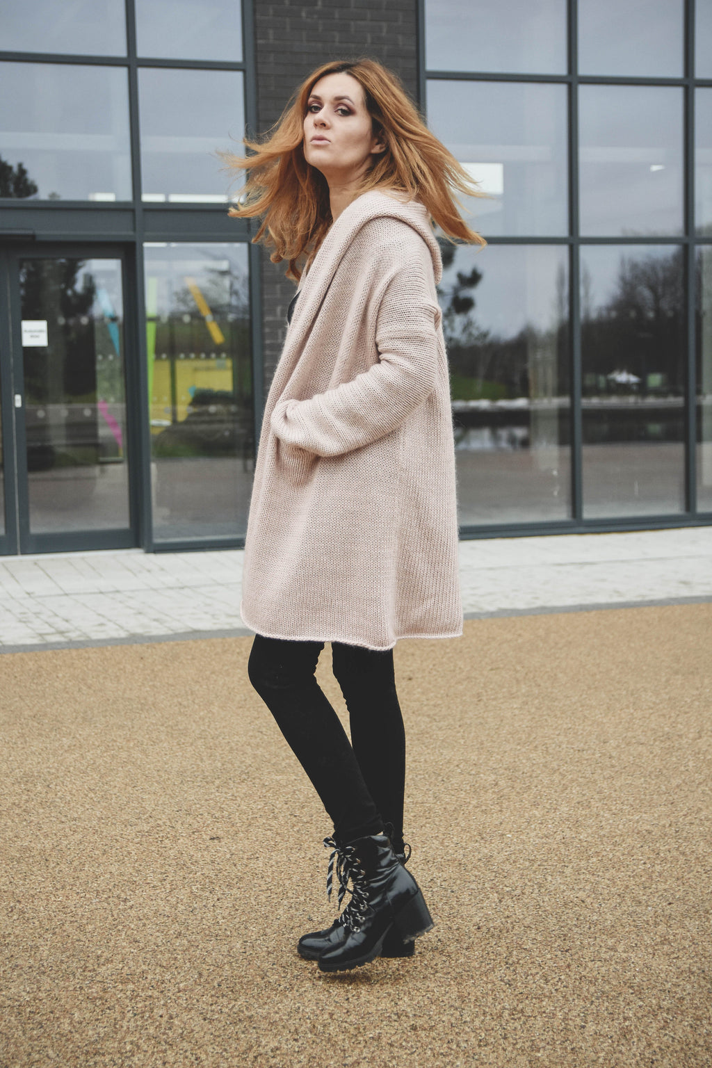 Casual cardigan with hood, Oversized chunky sweater coat, women's cardigan, sweater coat, Hooded sweater coat blush pink - Lena Felice