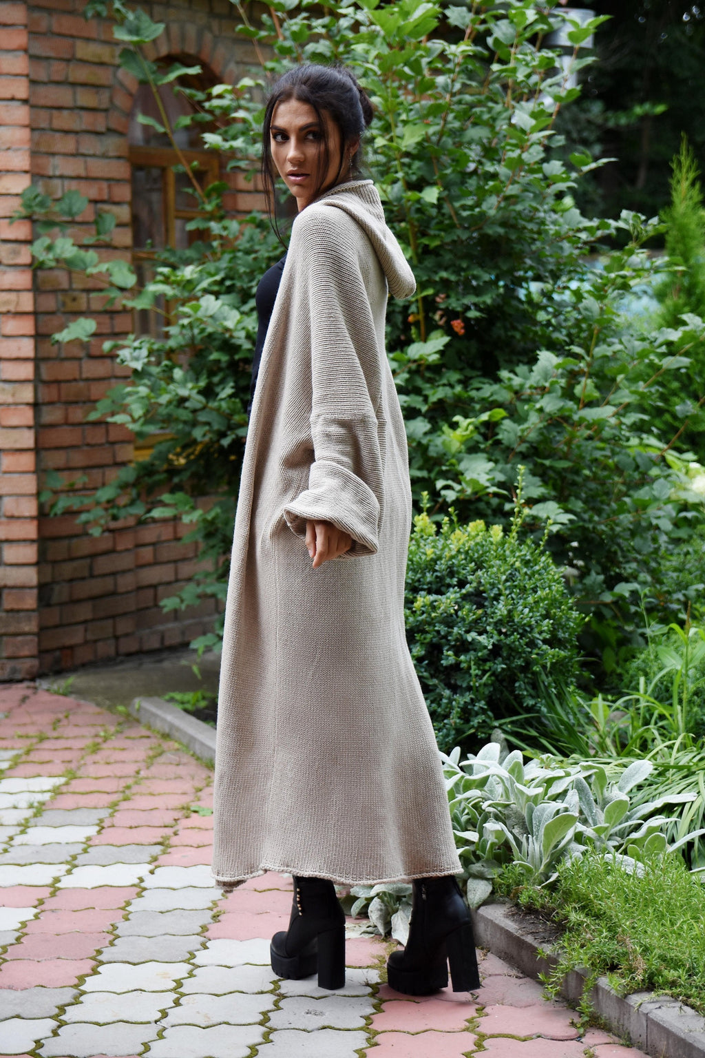 Cashmere long cardigan, Cashmere chunky sweater coat, women's maxi cardigan, Long sweater coat, Hooded oversized coat - Lena Felice