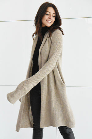 Cashmere cardigan Hooded sweater Extra long sleeve Beige/Oatmeal - Lena Felice
