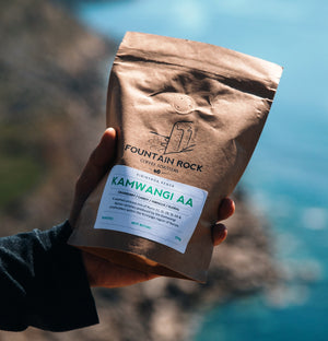 New Arrival - Kamwangi AA Single Origin Kenyan -250g bag with Dorset cliffs in the background