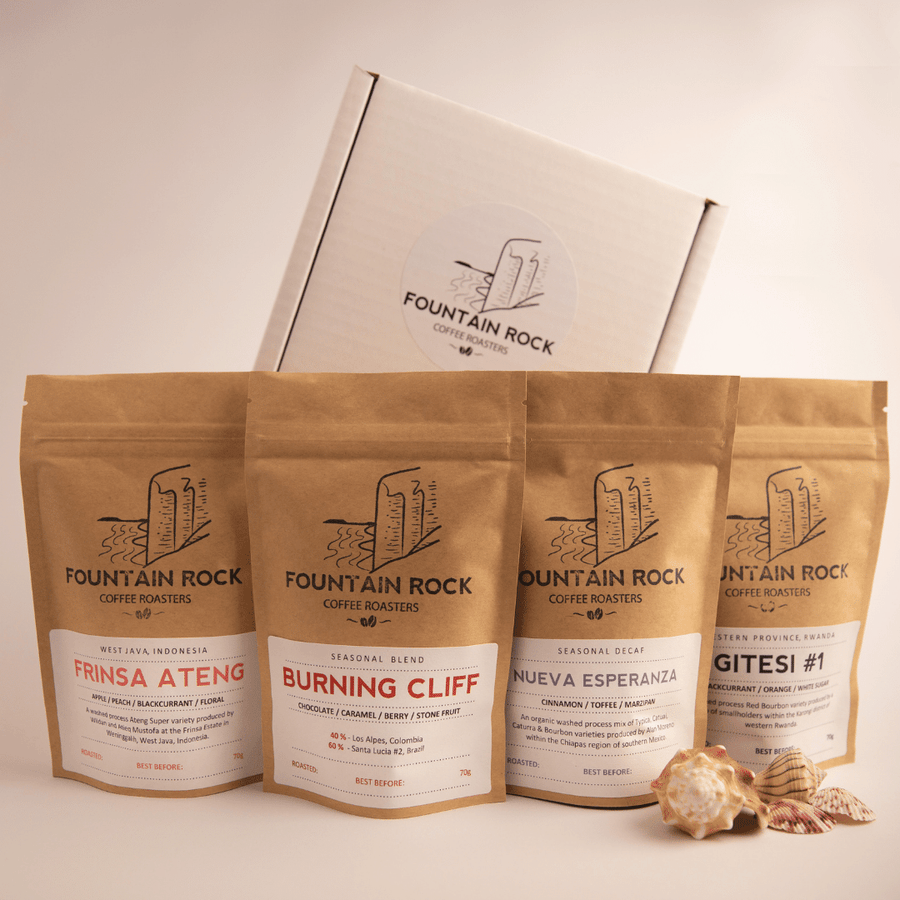 Mini Coffee Explorer Box Set Plus - Quartet of 70 g coffees housed within attractive white box