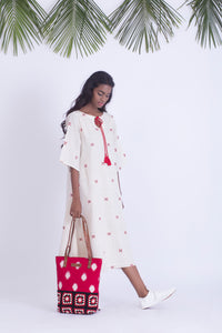 Ivory handloom cotton dress