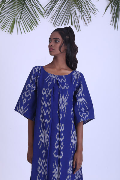 Blue handwoven ikat dress