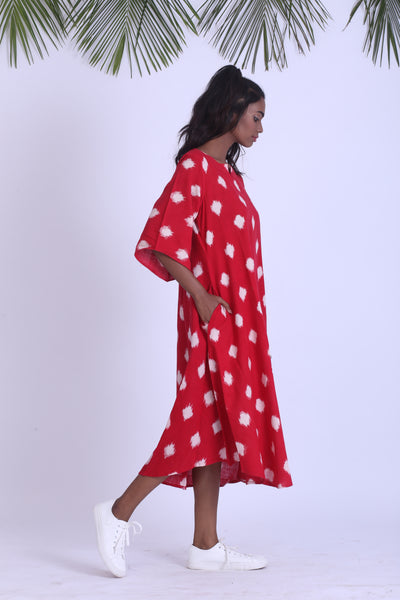Polka dot handwoven ikat dress