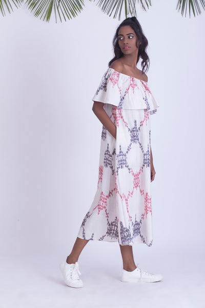 Handwoven ikat off shoulder dress