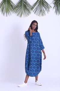 Handwoven ikat cowl dress