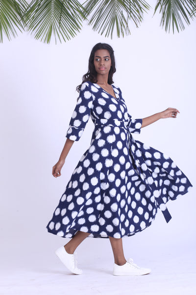 Polka dot navy handwoven ikat dress