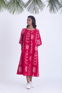 Red handwoven ikat dress